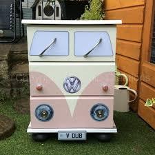 van volkswagen pink pink vintage retro vw campervan style chest of drawers bedside