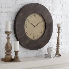 furniture oversized wall clocks with wooden frame on white wall