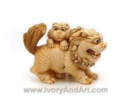 lion foo dog mammoth ivory netsuke foo dog baby lion ivoryandart
