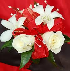 White Orchid Corsage White Sweetheart Rose And White Orchid Corsage Red