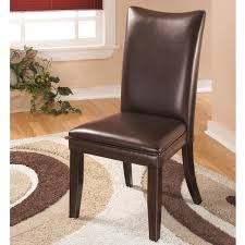 Beige Leather Dining Chairs Signature Designs By Ashley Charrell Brown Leather Dining Chairs