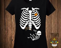Twin Pregnancy Halloween Costumes Pregnant Skeleton Shirt Etsy