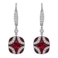 ruby drop earrings kwiat ruby diamond gold cluster drop earrings at 1stdibs
