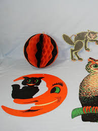 Vintage Die Cut Halloween Decorations Beistle Luhrs Owl Skeleton