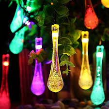 icicle lights solar led outdoor string water drop decoration