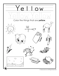 learning colors worksheets for preschoolers color yellow worksheet
