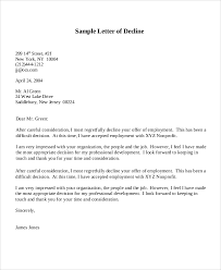 sle letter how to write decline offer letter sle letter of declining a offer
