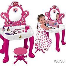 Little Girls Vanity Playset Amazon Com Wolvol 2 In 1 Vanity Set Girls Toy Makeup Accessories