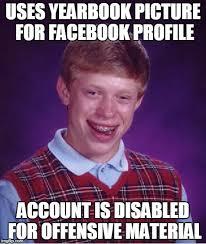 Profile Picture Memes - bad luck brian facebook profile memes pinterest facebook