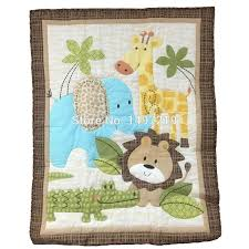 zoo animal pattern crib quilts for baby boys embroidery pattern