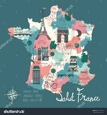 Maps Of France by Simple Cartooned Map Of France With Legend Icons Stock Vector