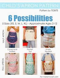 child u0027s apron pdf pattern 6 pattern styles 5 different sizes