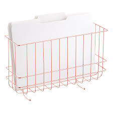 copper wire hanging wall file the container store copper wire hanging wall file