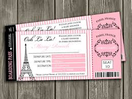paris boarding pass baby shower invitation by dazzleexpressions