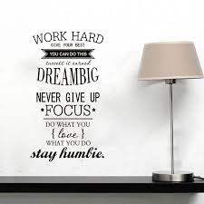 Home Decor Decals Work Hard Never Give Up Vinyl Wall Decal Quote Home Decor Office