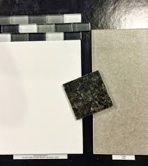 polaris gloss white around shower and parkway gray floor tile with