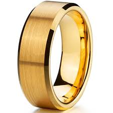 brushed gold wedding band hot sale 8mm matte finish free shipping tungsten ring mens 18k