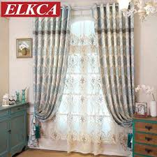 Drapes World Mediterranean Classic Blue Embroidered Curtains For Living Room