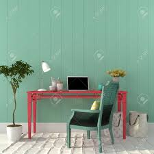 Turquoise Chair Interior Of A Home Office Of A Pink Desk And A Turquoise Chair