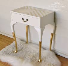 vintage queen anne gold dipped bedside table with geometric