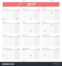 yearly wall calendar planner template 2017 stock vector 547394311