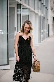 summer wedding guest black lace midi dress u2014 bows u0026 sequins