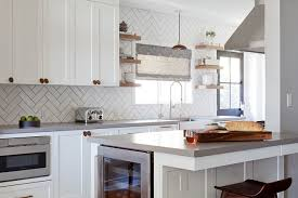 Grouting Kitchen Backsplash White Herringbone Kitchen Backsplash Tiles With Gray Grout