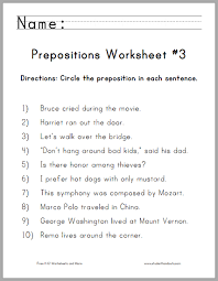 circle the prepositions worksheet 3 student handouts