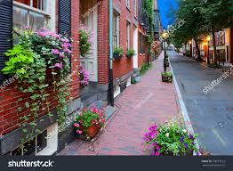 boston flowers narrow beacon hill boston flowers stock photo 178719122
