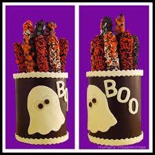 how to make chocolate canisters filled with halloween treats