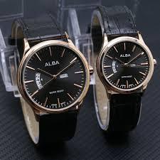 Jam Tangan Alba Pasangan jam tangan pasangan alba daydate leather black