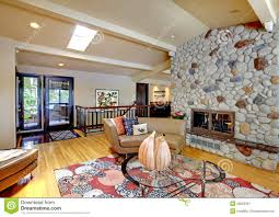 Luxury Home Interiors Open Modern Luxury Home Interior Living Room And Stone Fireplace