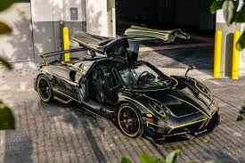 pagani hypercar new pagani huayra bc lands in miami wrapped in glossy black carbon
