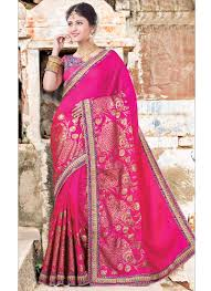rani pink colour pink saree with border and golden print design