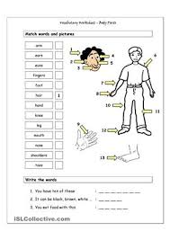vocabulary worksheet containing body parts vocabulary it has two