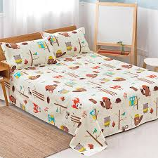 cartoon animal pattern flat sheet twin full queen king size bed