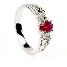 ruby engagement rings 14k white gold ruby and diamonds celtic engagement ring