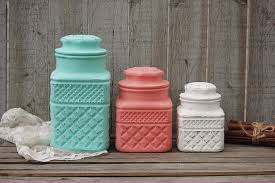 Green Kitchen Canisters Mint Green And Coral Kitchen Canister Set From The Vintage