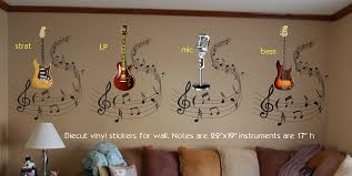 life size guitar stickers music notes stickers wall stickers click for larger image