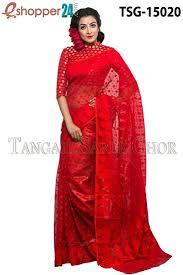 bangladeshi jamdani saree collection tangail moslin jamdani saree tsg 15020 online shopping in