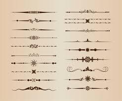 set of divider ornamental rule line design elements free vector in