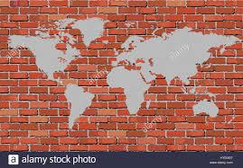 world map on a brick wall illustration brick wall texture stock