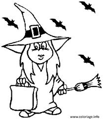 coloriage petite fille deguisee en sorciere dessin