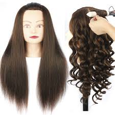brown hair mannequin head training mannequin head for hairdressers