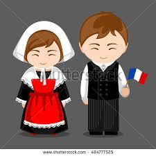 french people national dress flag man stock vector 484777525