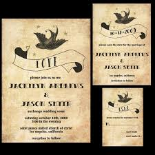 rockabilly wedding invitation set featuring a sparrow banner and