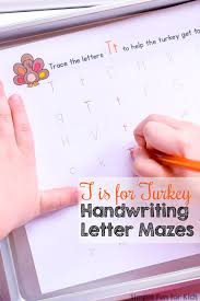 t is for turkey handwriting letter mazes simple fun for kids