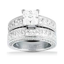 square set rings images Square brilliant moissanite and diamond wedding ring set jpg