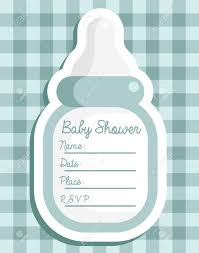 Baby Shower Invitations Card Blue Baby Shower Invitation Greeting Card Royalty Free Cliparts