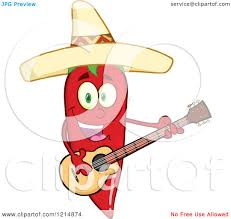 cartoon sombrero cartoon of a hispanic red chili pepper character wearing a